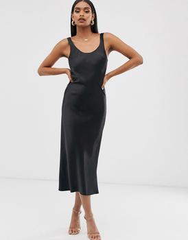 商品ASOS DESIGN scoop neck midi satin slip dress in black图片