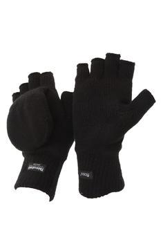 商品FLOSO Unisex Mens/Womens Thermal Capped Winter Fingerless Gloves (Black) ONE SIZE ONLY图片