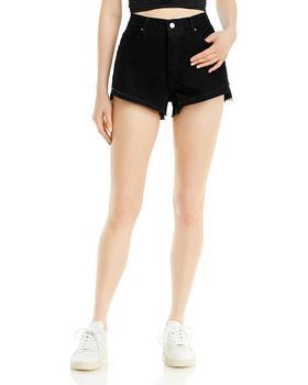 商品Front Cuff Frayed Cut-Off Jean Shorts in Adrift Black图片