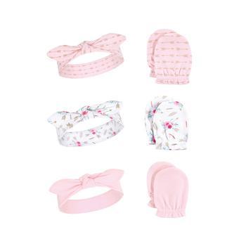 商品Baby Girl Headband and Scratch Mittens, 6-Piece Set图片