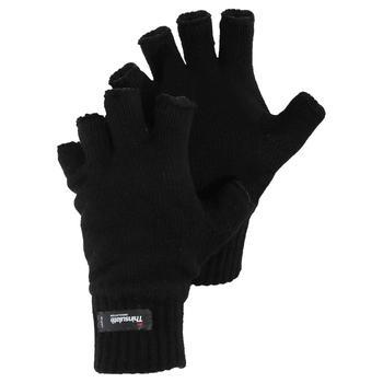 商品Mens Knitted Winter Heatguard Fingerless Gloves (Black)图片