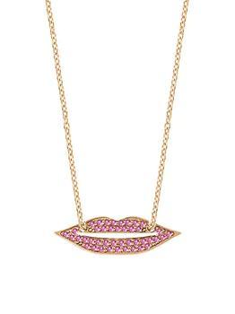 商品French Kiss 18K Rose Gold & Pink Sapphire Lips Pendant Necklace图片