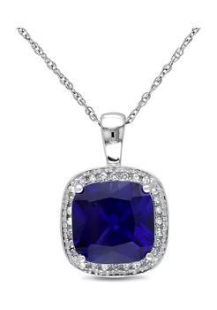 商品3.8 ct. t.w. Created Sapphire and 1/10 ct. t.w. Diamond Halo Pendant with Chain in 10k White Gold图片