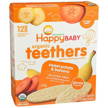 商品婴儿2段辅食有机磨牙华夫饼干 香蕉甜薯味 24只 48g图片