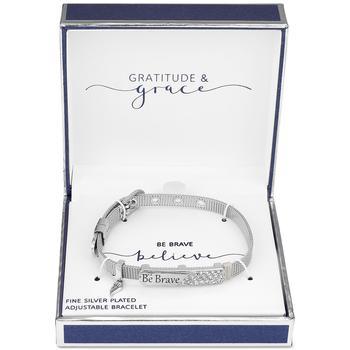"商品Gratitude & Grace Crystal ""Be Brave"" Wing Charm Mesh Bracelet in Silver-Plate图片"