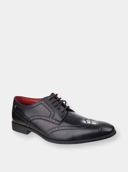 商品Base London Mens Sterling Crown Waxy Leather Brogue Shoe (Black)图片