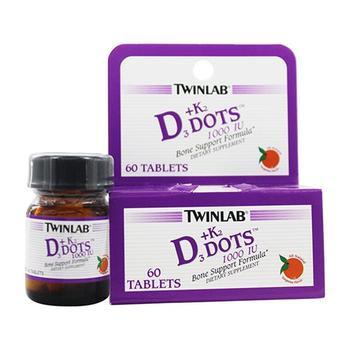 商品Twinlab Vitamin D3 Plus Vitamin K2 Dots 1000 IU Tablets, 60 Ea图片