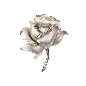 商品1960s vintage trifari silver rose brooch图片