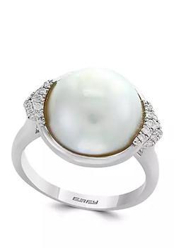 商品Mabe Pearl and 1/10 ct. t.w. Diamonds Ring in Sterling Silver图片