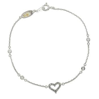 商品Suzy Levian Sterling Silver Sapphire & Diamond Heart Station Bracelet图片