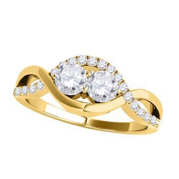 商品Maulijewels 0.35 Carat Diamond Two Stone Engagement Wedding Rings For Women In 14K Solid Yellow Gold图片