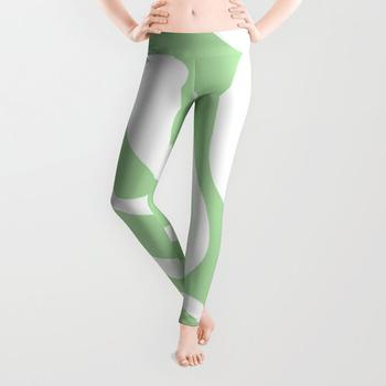 商品Modern Retro Liquid Swirl Abstract Pattern in Light Matcha Tea Green and White Leggings图片