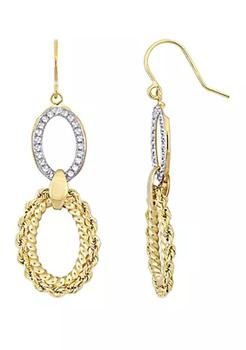 商品Textured Hoop Dangle Hook Earrings in 10k Yellow and White Gold图片