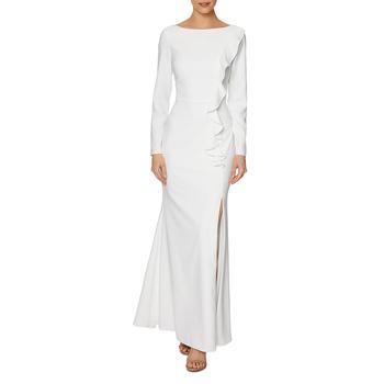 商品Laundry by Shelli Segal Women's Ruffled Long Sleeve Full Length Column Gown图片