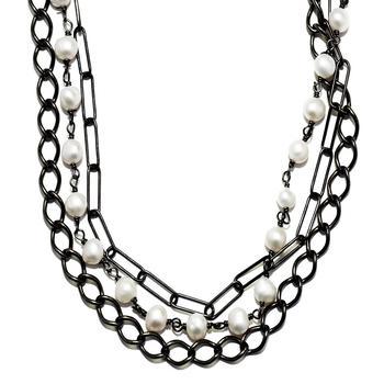 商品Adornia Messy Layered Pearl Necklace Silver图片