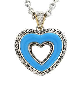 商品Andrea Candela Trebol 18K Over Silver Diamond & Turquoise Necklace图片