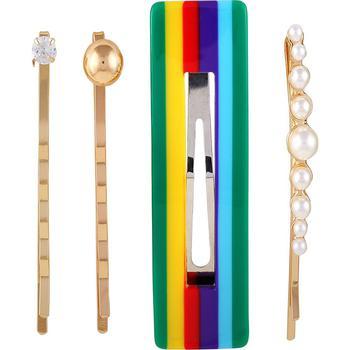 商品Multi-color, imatation pearl, and crystal set of 4 hair pin set图片