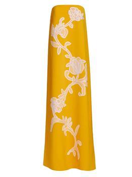 商品Floral Embroidered Fluid Crepe Strapless Gown图片