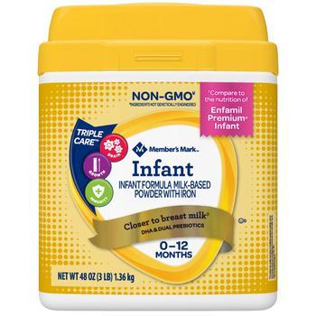 商品Member's Mark Premium Non-GMO 婴儿一段奶粉 (48 oz.)图片