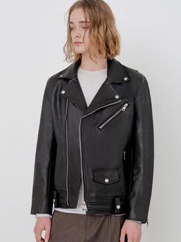 商品#22-1 Zipper Detail Leather Jacket Black图片