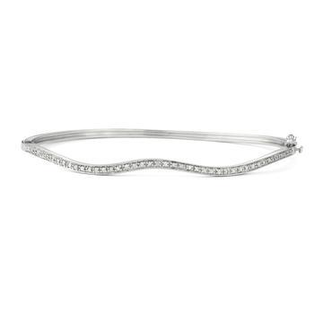 商品Hetal Diamonds 1/10 CTTW TWIST STYLE DIAMOND BANGLE IN STERLING SILVER图片