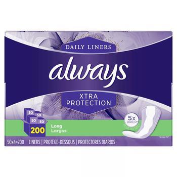 商品Always Anti-Bunch Xtra Protection Daily Liners, Long, Unscented (200 ct.)图片