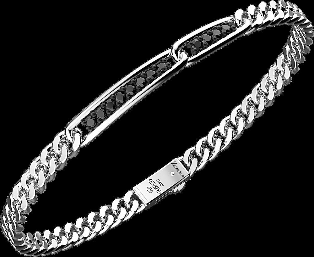 商品Silver bracelet with curb chain and plate with  natural stones图片