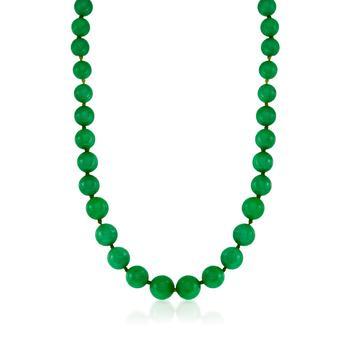 商品Ross-Simons 7-14mm Jade Graduated Bead Necklace With 14kt Yellow Gold图片