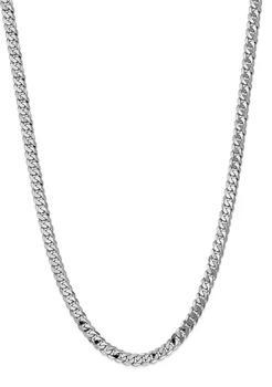 商品Men's 14K White Gold 7.25 Millimeter Beveled Curb Chain Necklace图片