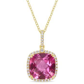 商品Amour Gold Plated Silver 8 3/8 Ct Pink Topaz & White Sapphire Halo Pendant With Chain图片