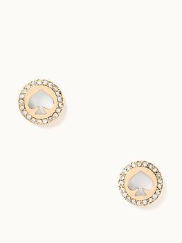 商品珍珠贝母桃心锆石耳钉图片