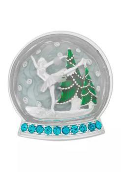 商品Silver Tone White Blue Skater Snow Globe Pin图片