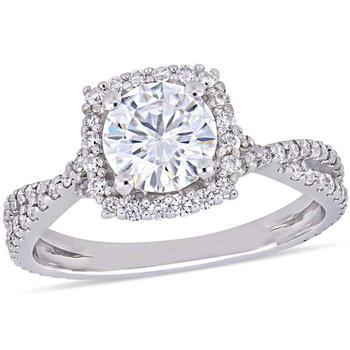 商品Amour 1 1/2 CT TGW Created Moissanite-White Fashion Ring 10k White Gold JMS005386-0900图片