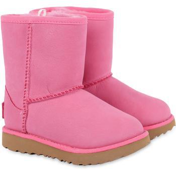 商品Logo leather boots with faux fur interior in pink图片