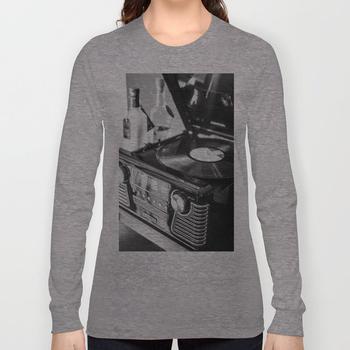商品Record Player, Black and White, Vintage Vinyl Record Player  Long Sleeve T-shirt图片