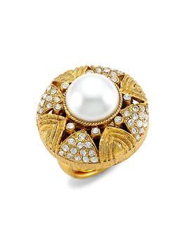 商品22K Antique Goldplated, Crystal & Faux-Pearl Cocktail Ring图片