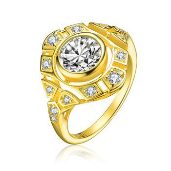 商品Megan Walford Gold Over Sterling Silver Round Cubic Zirconia Ring图片