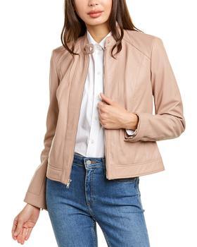 商品Cole Haan Zip Front Leather Jacket图片