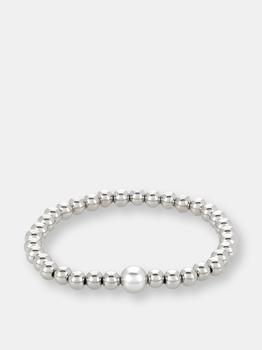 商品Dark Gray Crystal Pearl and Stainless Steel Beaded Stretch Bracelet (6mm Wide)图片