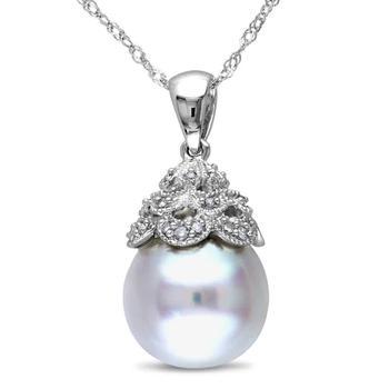 商品Amour 14K White Gold 10-10.5 mm South Sea White Pearl and 0.06ct Diamond Accent Pendant w/ Chain JMS005691图片