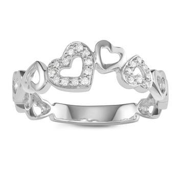 商品Hetal Diamonds Ladies 925-sterling Sterling Silver 0.09 Ct White Diamond Heart Ring Size 7图片