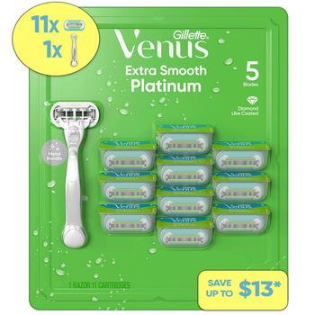 商品Venus Platinum Extra Smooth Metal Handle Women's Razor, 1 Handle + 11 Refills图片