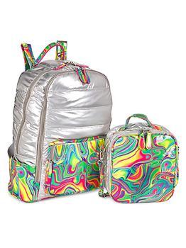 商品Girl's Marble Multicolor 2-Piece Backpack & Lunch Box Set图片