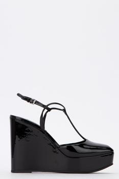 商品Prada Ankle Strap Wedges - IT39 / Black图片