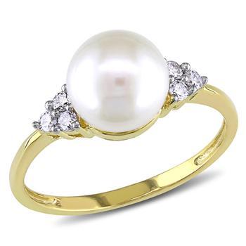 商品Amour 10k Yellow Gold 7.5 - 8 mm Freshwater Cultured White Pearl and 1/8 CT Diamond TDW Cocktail Ring图片
