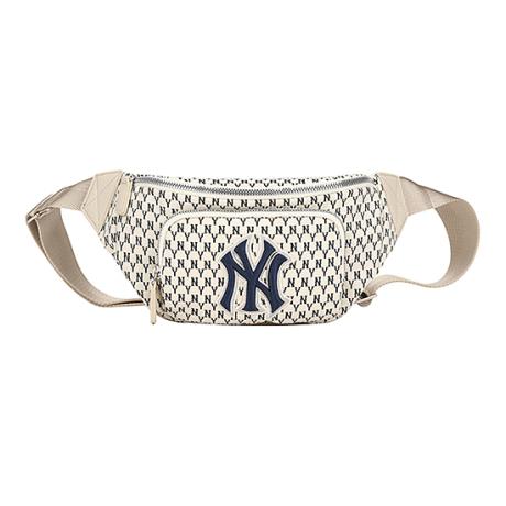 商品【韩国直邮 包邮包税】MLB Monogram系列 纽约洋基队 老花NY经典腰包 象牙白色图片