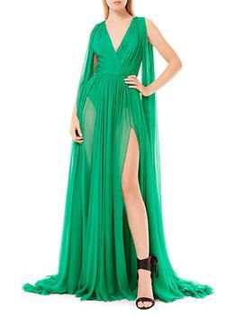 商品Draped Silk Chiffon V-Neck Gown图片
