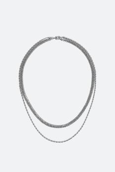 商品A1双层链条项链 - 银色图片