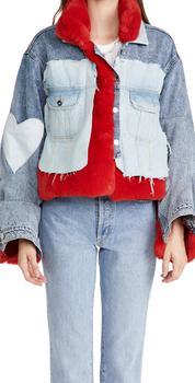 商品Natasha Zinko Red Faux Fur Raw Denim Jacket图片