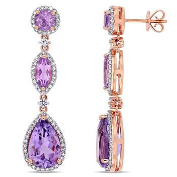 商品Amour 14k Rose Gold 8 CT TGW Amethyst Rose De France White Sapphire and 5/8 CT TW Diamond Geometric Teardrop Dangle Post Earrings图片